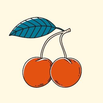 Piękna, ręcznie rysowana ilustracja czereśni