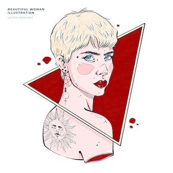 Piękna, ręcznie rysowana ilustracja kobiety
