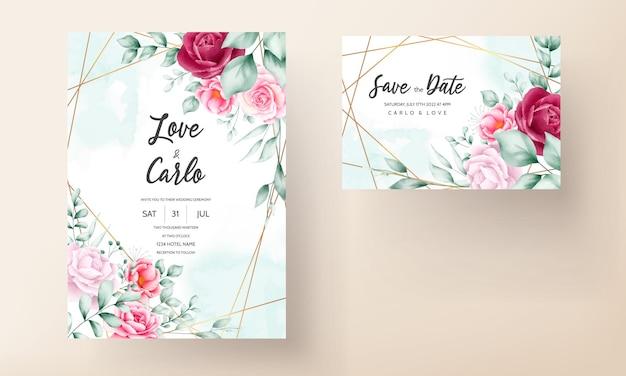 Piękna, ręcznie rysowana karta zaproszenie na ślub z kwiatami akwareli