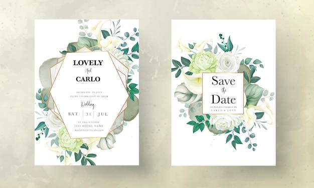 Piękna, ręcznie rysowana karta zaproszenie na ślub z różą i kwiatem lilii calla
