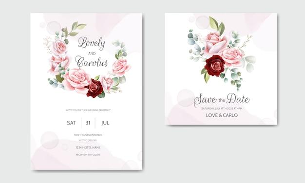 Piękna ręcznie rysowane karta zaproszenie na ślub kwiatowy