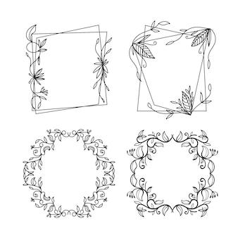 Piękna, ręcznie rysowane kolekcja kwiatowy ramki
