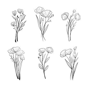 Piękna ręka rysunek kwiat ślub liści ornament zestaw kolekcja