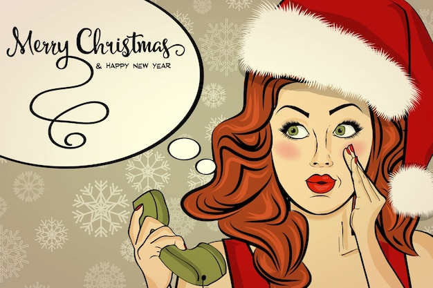 Piękna Retro Christmad Karta Z Seksownym Santa Premium Wektorów