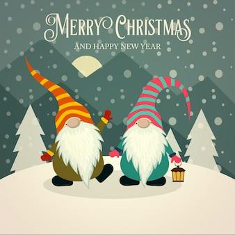 Piękna retro kartka bożonarodzeniowa z gnomami