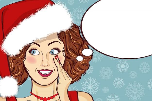 Piękna retro kartka bożonarodzeniowa z seksownym santa
