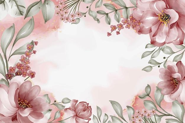 Piękna róża bordowy kwiat akwarela rama tło