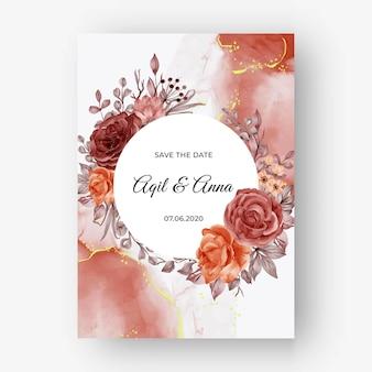 Piękna róża jesień jesień tło ramki na zaproszenie na ślub