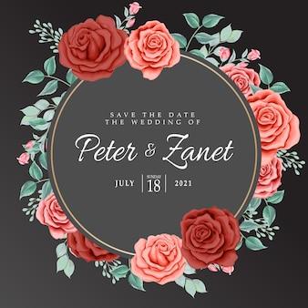 Piękna róża kwiatowe ślubne karty zaproszenia do edycji szablon