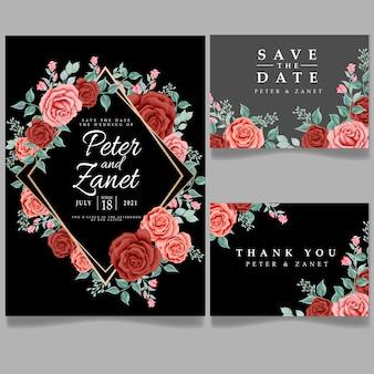 Piękna róża kwiatowe zaproszenie karta ślubna edytowany szablon