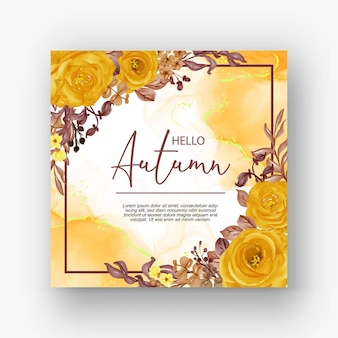 Piękna róża rama cześć jesień tło