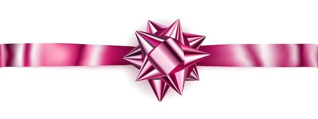 Piękna różowa błyszcząca kokardka z poziomą wstążką z cieniem