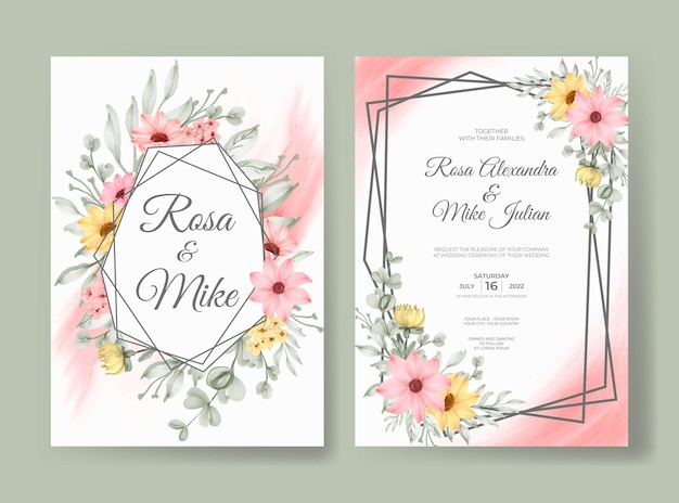 Piękna różowa róża kwiatowy akwarela zaproszenie na ślub szablon karty