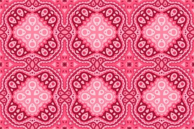 Piękna różowa tkanina ze wschodnim wzorem płytki bez szwu