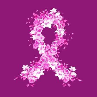 Piękna różowa wstążka kwiatów