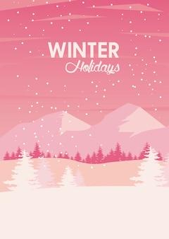 Piękna różowa zimowa scena krajobrazowa z ilustracją gór i drzew