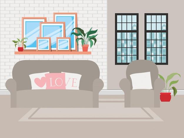 Piękna scena domu w salonie