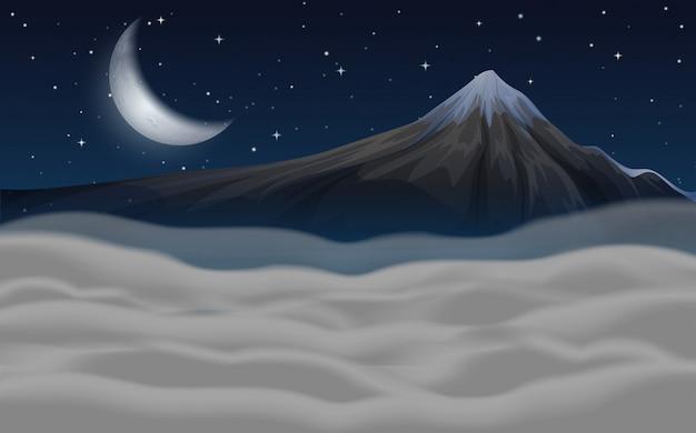 Piękna scena moutain w nocy