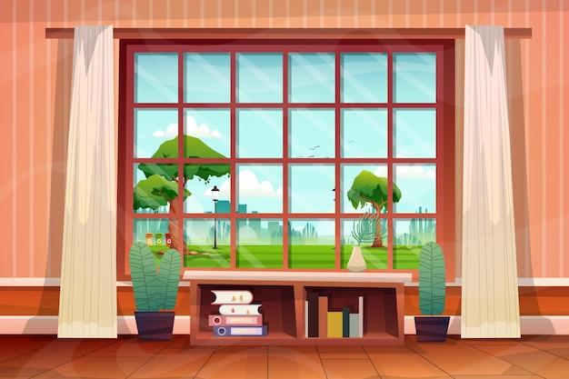 Piękna scena z salonu w domu, spojrzała przez szklane okno i zobaczyła park przyrody na zewnątrz, wektor