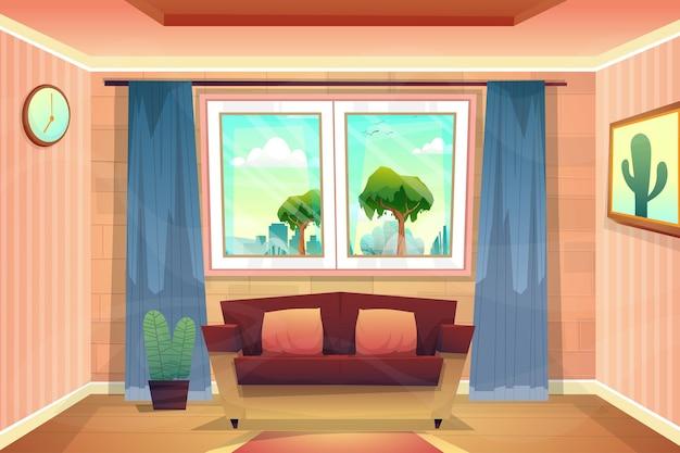 Piękna scena z salonu w domu, spojrzała przez szklane okno i zobaczyła park przyrody na zewnątrz