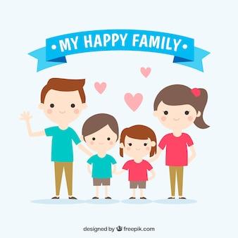 Piękna scena z uśmiechem rodziny