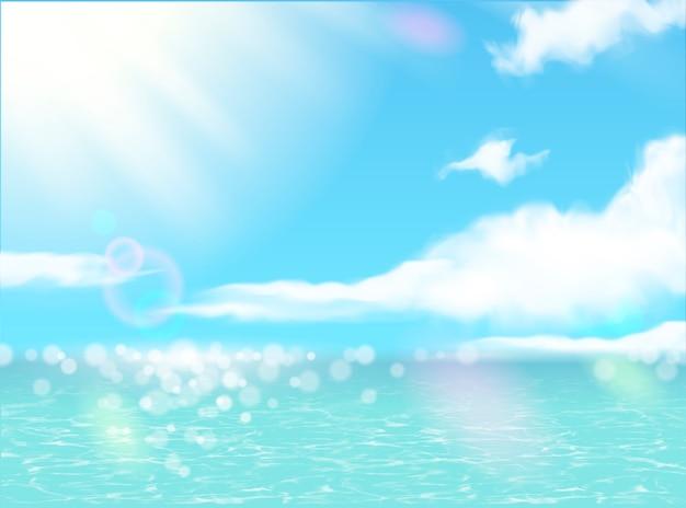 Piękna sceneria letniego kurortu z błyszczącym oceanem i błękitnym niebem w ilustracji 3d