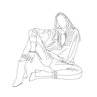 Piękna seksowna dziewczyna siedzi na podłodze. styl liniowy. ilustracja.
