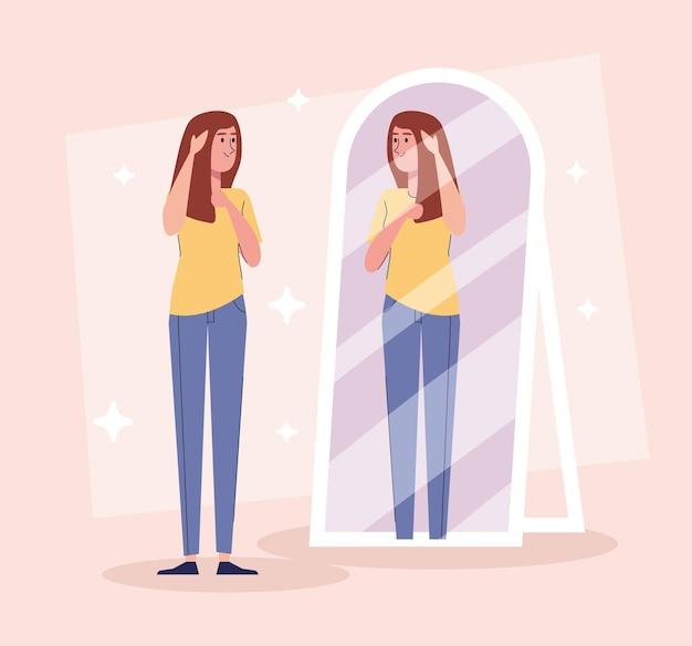 Piękna sexy dziewczyna stojąca patrząc w projekt ilustracji lustra