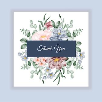 Piękna ślubna karta kwiatowy etykieta z różowymi niebieskimi bordowymi kwiatami