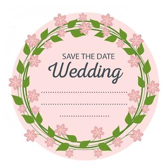 Piękna ślubna karta z kwiatami projektu i liśćmi