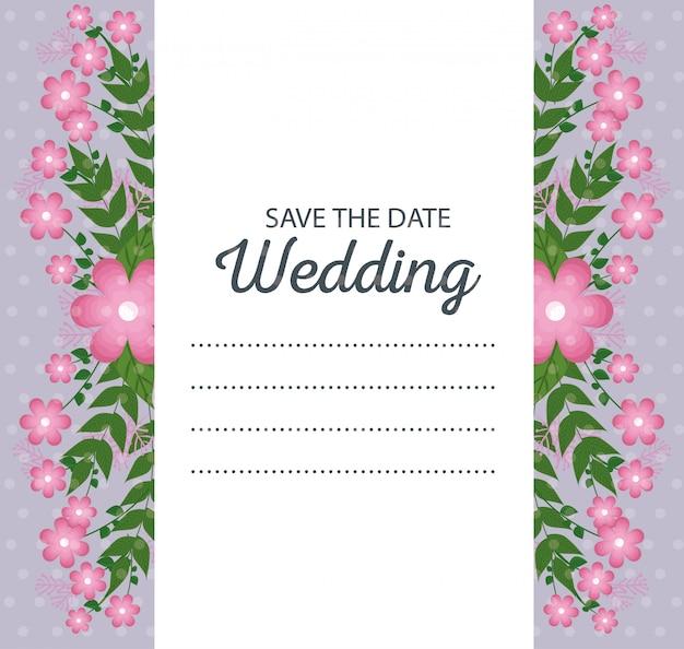 Piękna ślubna karta z kwiatami zasadza i opuszcza