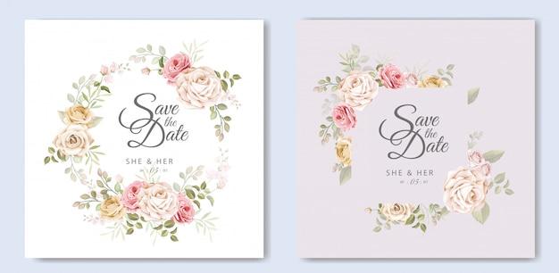 Piękna ślubna karta z kwiecistym i liści szablonem