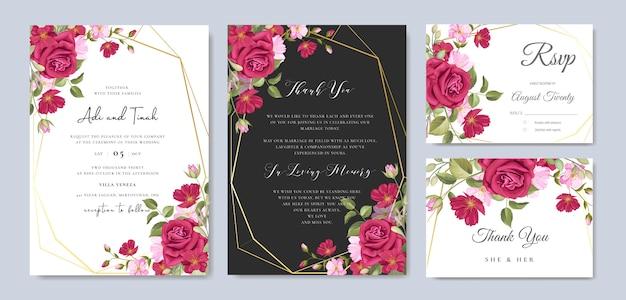 Piękna ślubna karta z kwiecistym i liści szablonu tłem