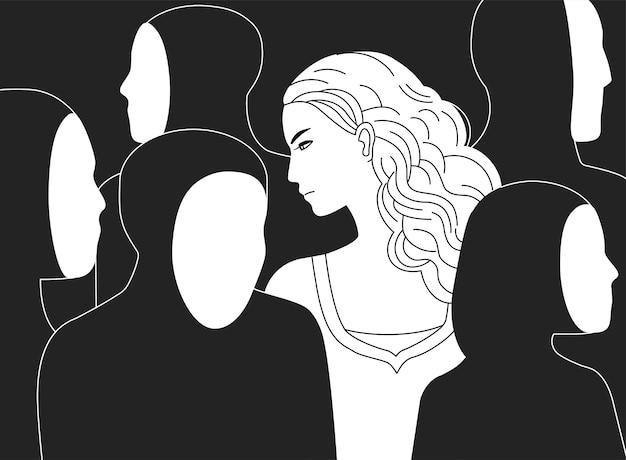 Piękna smutna długowłosa kobieta otoczona czarnymi sylwetkami ludzi bez twarzy.