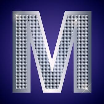 Piękna srebrna litera m z brylantami. czcionka wektorowa, krój alfabetu dla logo lub ikony eps10