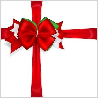 Piękna świąteczna czerwona kokarda z poprzecznymi wstążkami