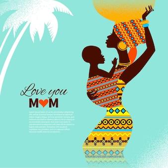 Piękna sylwetka czarnej afrykańskiej matki i dziecka w stylu retro. kartki szczęśliwego dnia matki