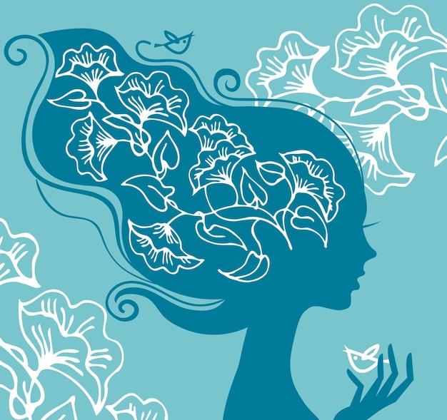 Piękna sylwetka kobiety z kwiatami i ptakami