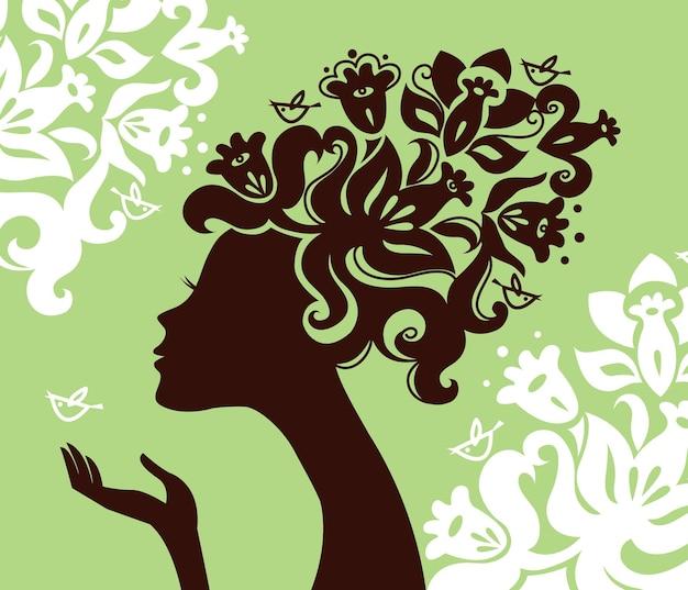 Piękna sylwetka kobiety z kwiatami