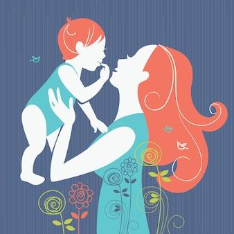 Piękna sylwetka matki z dzieckiem z kwiatowym tłem. kartka szczęśliwego dnia matki