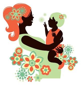 Piękna sylwetka matki z dzieckiem