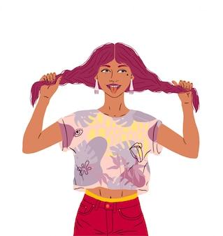 Piękna szczęśliwa dziewczyna pokazuje język. zabawna kobieta w dobrym nastroju trzyma włosy, dwie warkocze. jasne kolory, ilustracja na białym tle
