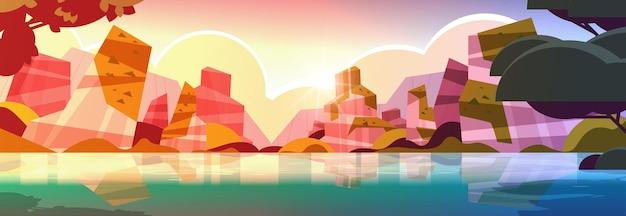 Piękna tropikalna plaża zachód słońca krajobraz lato nadmorski z drzewami i górami pozioma ilustracja wektorowa