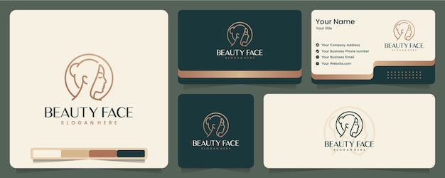 Piękna twarz, elegancki, minimalistyczny, projekt wizytówki i logo