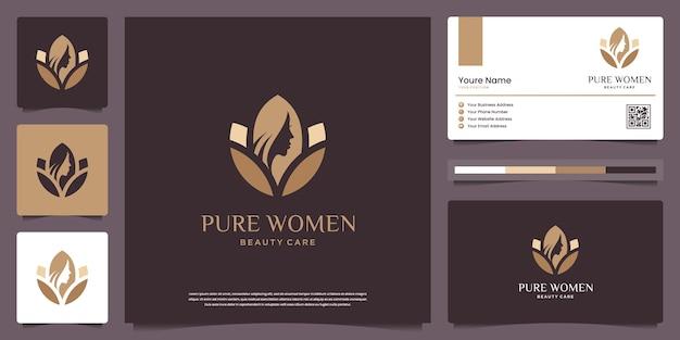 Piękna twarz kobiety i kwiat lotosu. logo może być używane do spa, urody, salonu, skóry i wizytówki