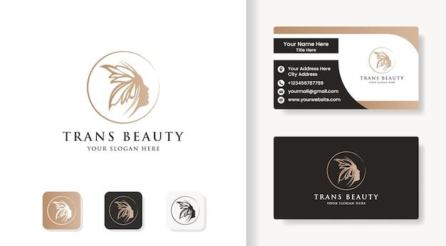 Piękna twarz kobiety łączy się z logo motyla i projektem wizytówki