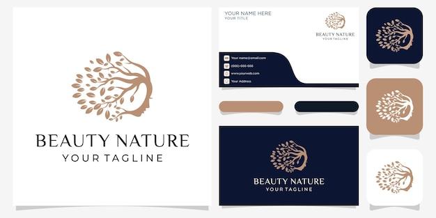 Piękna twarz kobiety logo kwiatowe i koncepcja projektowania wizytówek dla salonu piękności i spa