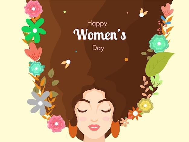 Piękna twarz kobiety z długimi włosami ozdobionymi kwiatami na żółtym tle