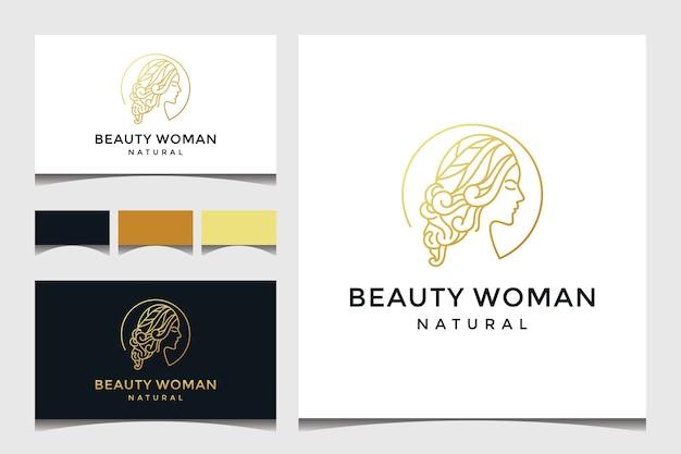 Piękna twarz kobiety z logo stylu sztuki linii