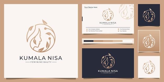 Piękna twarz kobiety z luksusowym projektowaniem logo kwiat oddziału. minimalistyczny elegancki branding wizytówek